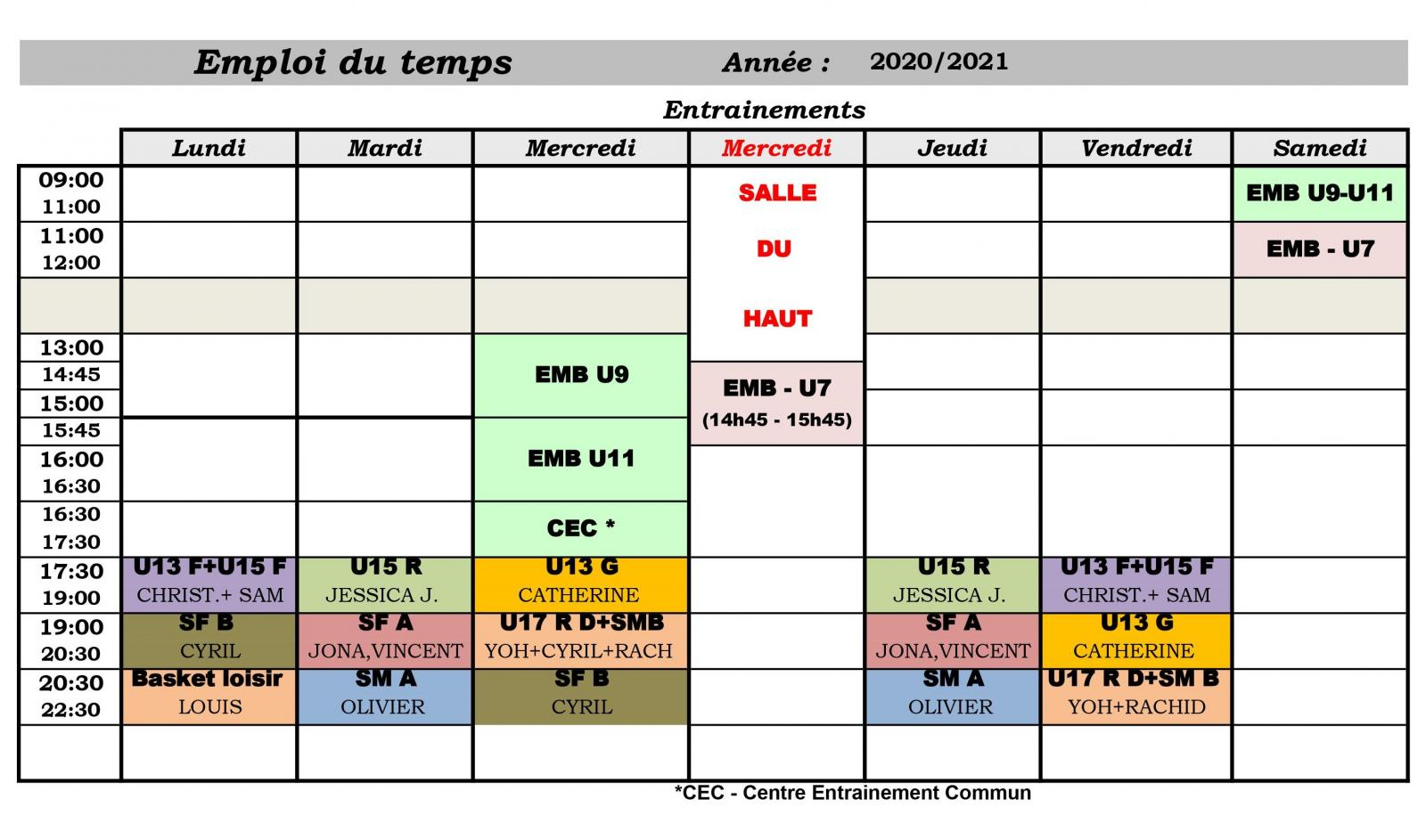 Planning entraînements 2020 - 2021